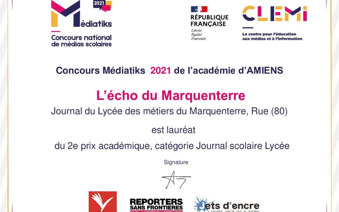 Le Lycée remporte le 2ème prix du concours Médiatiks 2021 catégorie Lycées !